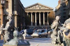 Modern city view infront of Madeleine Church, one of the most vising Roman Catholic church landmark in Paris, glory of Napoleon`s Stock Photos