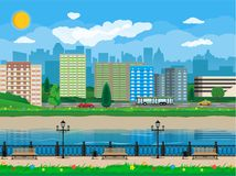 Modern city view. Waterfront, river, embankment Royalty Free Stock Images