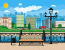 Modern city view. Waterfront, river, embankment Royalty Free Stock Image