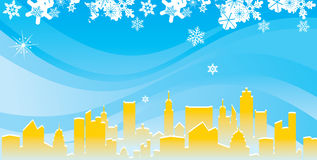 Modern city in winter Royalty Free Stock Image