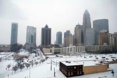 Charlotte skyline in snow. Modern city in winter - Charlotte skyline in snow royalty free stock photos