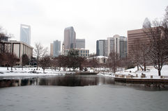 Charlotte skyline in snow Royalty Free Stock Images