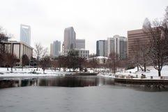 Charlotte skyline in snow. Modern city in winter - Charlotte skyline in snow Royalty Free Stock Images