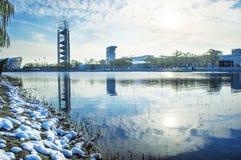 Modern cityscape of beijing. In winter stock image