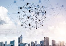 Modern city and social net as concept for global networking Royalty Free Stock Photo