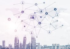 Modern city and social net as concept for global networking Stock Photos