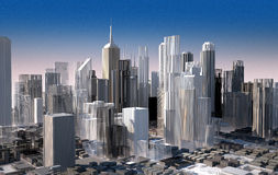 Modern cityscape in daylight. Close up view. Royalty Free Stock Images