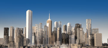 Modern cityscape in daylight. Close up view. Royalty Free Stock Photos