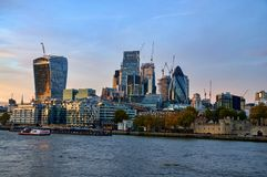 Modern cityscape of London, England. Modern cityscape of London in the background at sunset. England Stock Photo