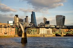 Modern cityscape of London, England. Modern cityscape of London in the background at sunset. Over the River Thames. England Stock Photography