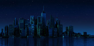 Modern cityscape in nightime.  Stock Image