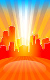 Modern cityscape on retro sunburst pattern with stage and spot o Royalty Free Stock Photos