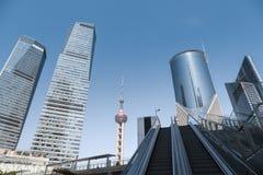 Modern cityscape of shanghai stock photos