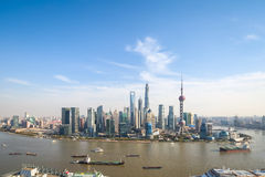 Modern cityscape in shanghai with sunny sky Royalty Free Stock Image