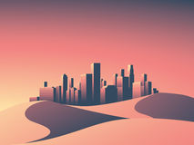Modern cityscape with skyscrapers skyline in sunset colors. Desert landscape with hot environment. Royalty Free Stock Photography
