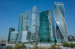 modern cityscape stad moscow russia MoskvaInternational Busi Royaltyfria Bilder