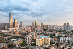 Modern cityscape of tianjin at dusk Royalty Free Stock Photo