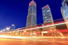 Modern cityscape with traffic at dusk. In beijing,China royalty free stock photography