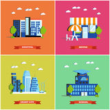 Modern cityscape vector illustration. City buildings set in flat design. Hospital, bistro, smart city and school. Modern cityscape vector illustration. City Royalty Free Stock Photography