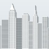 Modern cityscape vector illustration with office buildings and skyscrapers. Part A Stock Photo