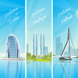 Modern Cityscapes 3 Banners Set Stock Photos