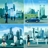 Modern cityscapes 4 flat icons square Royalty Free Stock Photography