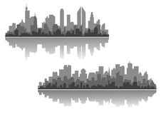 Modern cityscapes vector designs. Modern cityscape vector designs with silhouettes of multiple high-rise buildings and skyscrapers with a reflection Stock Photography