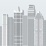 Modern cityscapevektorillustration med kontorsbyggnader och skyskrapor Del B Royaltyfri Fotografi