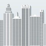 Modern cityscapevektorillustration med kontorsbyggnader och skyskrapor Del C Royaltyfri Foto