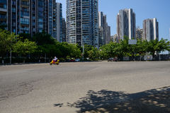 Modern cityy in sunny summer afternoon Royalty Free Stock Photos