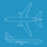 Modern civil airplane. High detailed vector illustration of modern civil airplane - top and side view Stock Image