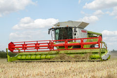 Modern claas combine harvester cutting crops Stock Image