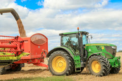 Modern claas combine harvester cutting crops Stock Images