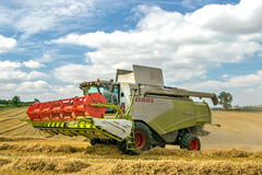 Modern claas combine harvester with header up cutting crops Royalty Free Stock Images
