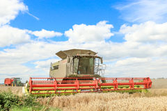 Modern class combine harvester and tractor. Modern claas 770 combine harvester cutting crops oilseed working the field corn wheat barley front . john deere stock images