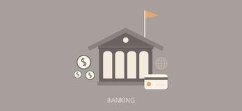 Modern and classic banking flat concept icon set Stock Image