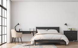 Free Modern Classic Bedroom 3d Render Royalty Free Stock Image - 122417256