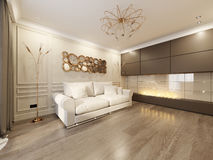 Modern Classic Beige Living Room Interior Design Royalty Free Stock Photography