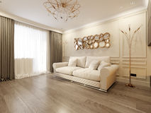 Modern Classic Beige Living Room Interior Design Stock Photography