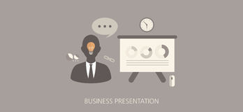 Modern and classic business presentation flat concept icon set Royalty Free Stock Image