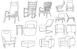Modern and Classic Chair Outline Vector Illustration. For many purpose such as architecture and interior magazine, blog, website, coloring book, print on paper Stock Illustration