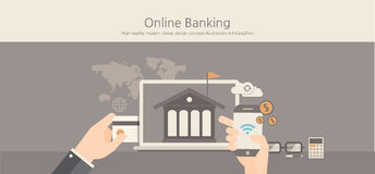 Modern and classic design online banking concept. Royalty Free Stock Image