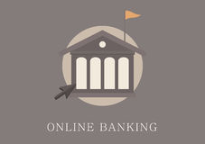 Modern and classic design online banking concept flat icon Stock Photos