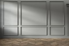 Modern classic gray empty interior with wall panels and wooden floor.