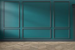 Modern classic green, turquoise color empty interior with wall panels, mouldings and wooden floor.