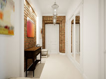 Modern Classic Hall Hallway Corridor In Old Vintage Apartment Stock Images