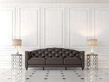 Modern classic living room with black leather sofa  3d render. Modern classic living room 3d render,There are empty white wall,furnished with black leather sofa Stock Image
