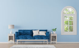 Modern classic living room with blue color 3d rendering image Stock Images