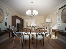 Modern classic living room and dining room interior design Royalty Free Stock Images