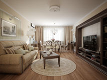 Modern classic living room and dining room interior design Royalty Free Stock Photography